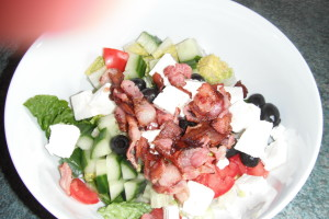 feta cheese and bacon salad