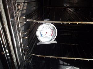Oven thermometer in oven