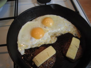 fried eggs and hamburger