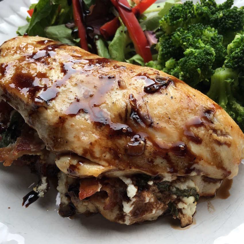 low carb keto diet stuffed chicken breast with goats cheese and bacon with a balsamic vinegar glaze