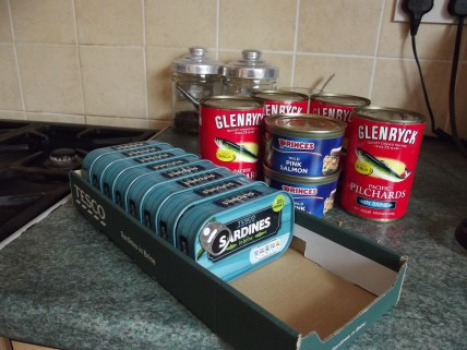 Tinned sardines, pilchards and pink salmon
